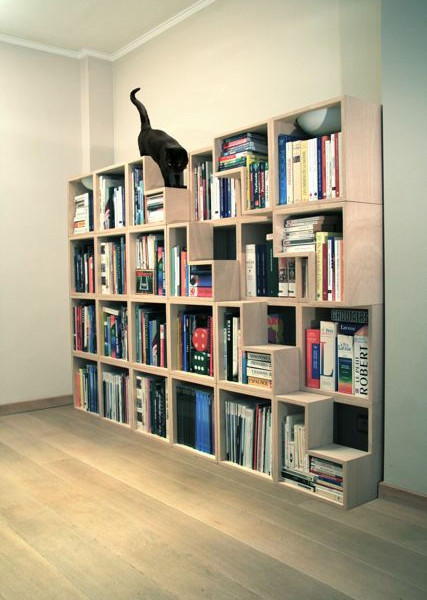 階段状の収納ボックスで本棚×猫階段